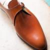 Handmade men Tan monk calf leather shoes, Men dress shoes, Men monk shoes