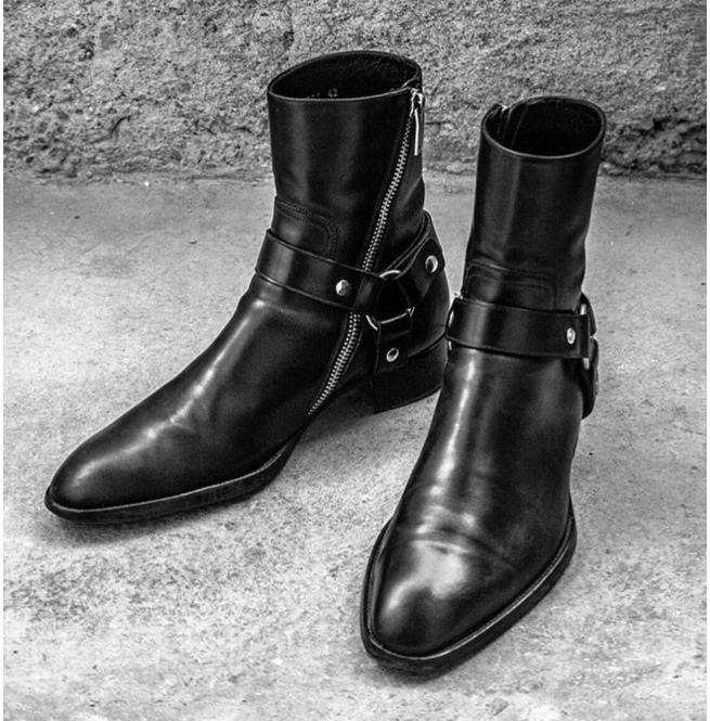 mens black leather boots with buckle