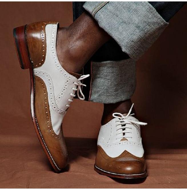 Custom Made shoes for men Handmade Men/'s Leather spectator Wingtips shoes