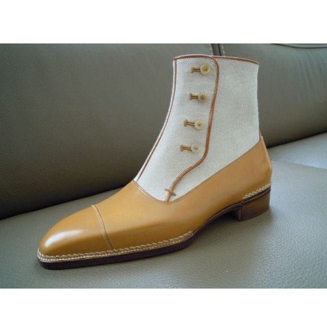 NEW-Handmade Men two tone leather /& suede ankle high button boots,black /& white