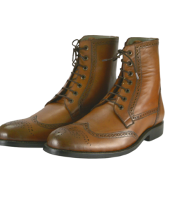 Handmade Men brown wingtip ankle boots